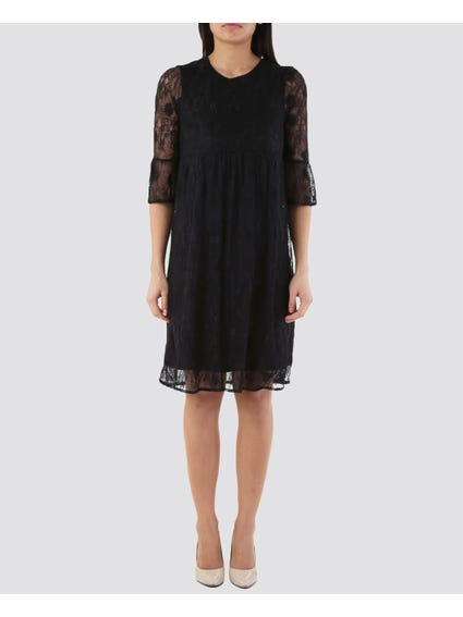 Black Lace Short Sleeves Dress