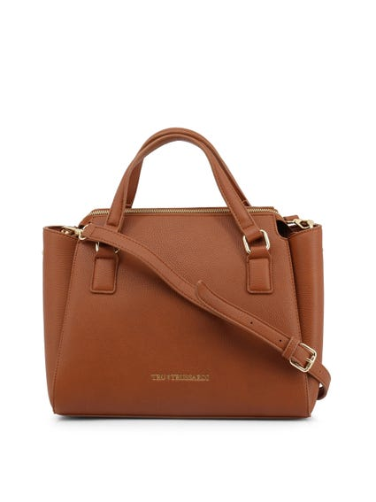 Chocolate Brown Leather Side pockets Handbag