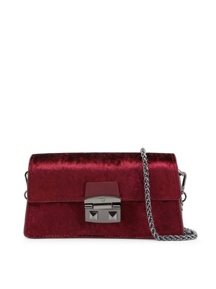 Red Long Coriandolo Glossy Magnetic Clutch Bag