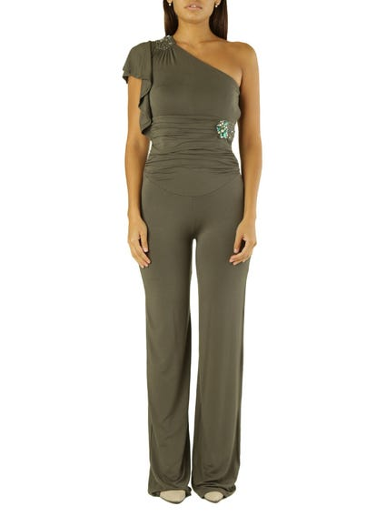 Green One Side Shoulder Jumpsuits