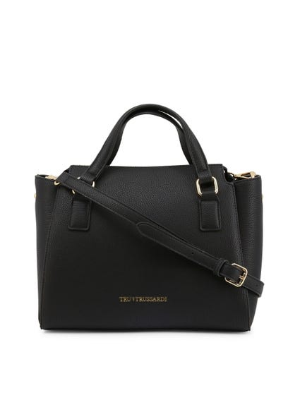 Black Leather Side pockets Handbag