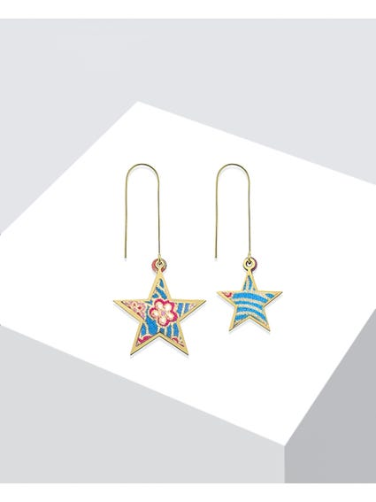 Blue Tanabata Frame Earrings