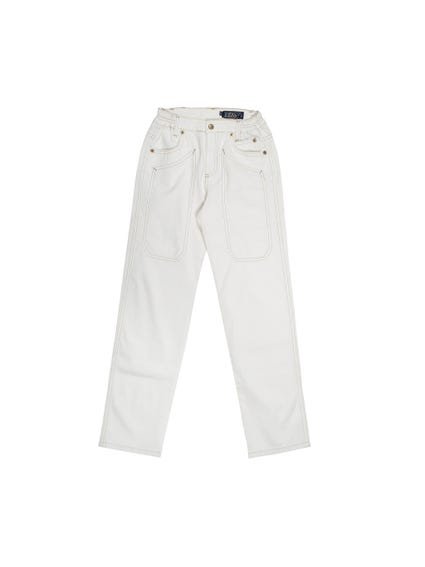 White  Button Pocket Kids Trouser