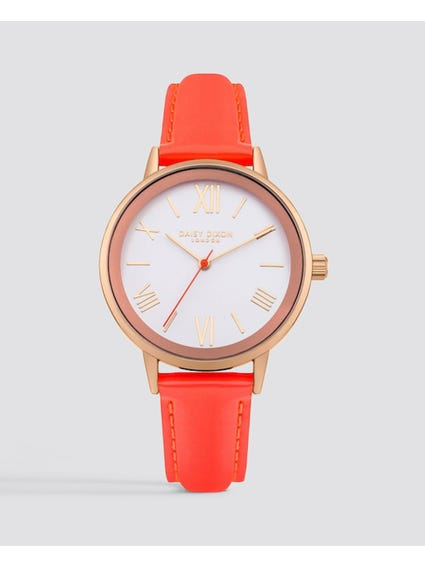 Orange Leather Strap Analog Watch