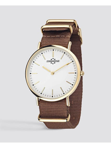 Brown Preppy Fabric Analog Watch
