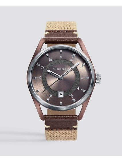 Beige Timeless Nylon Strap Watch