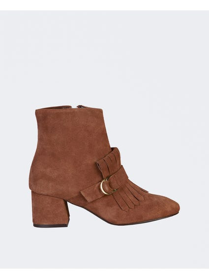 Brown Milly Fringe Detail Ankle Boots