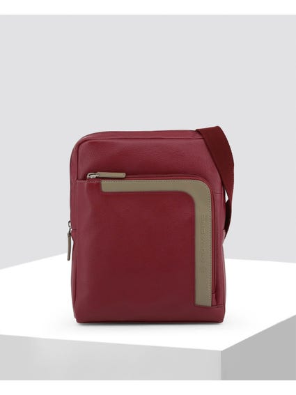 Red Front Zip Leather Crossbody Bag