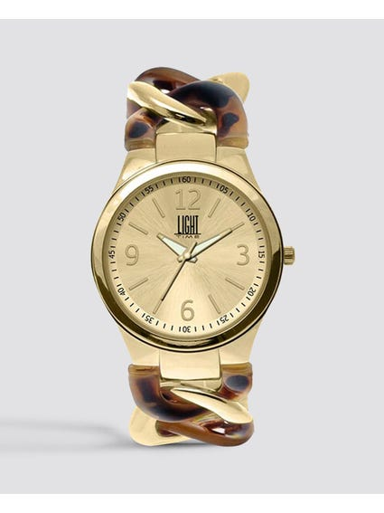 Gold Metal Bracelet Analog Watch