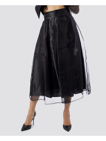 Applique Mesh Overlay Midi Skirt