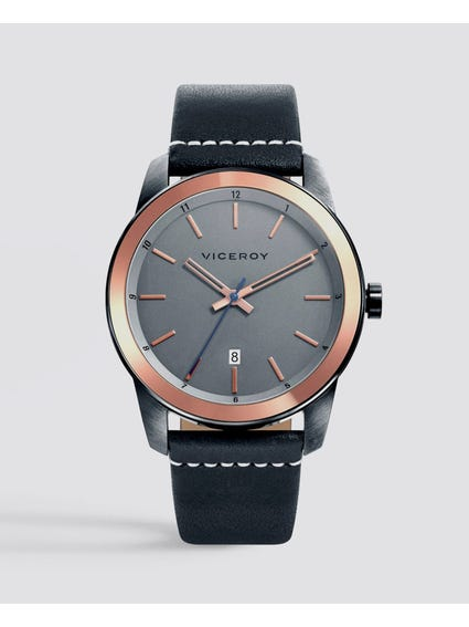Aviation Grey Dial Leather Watch