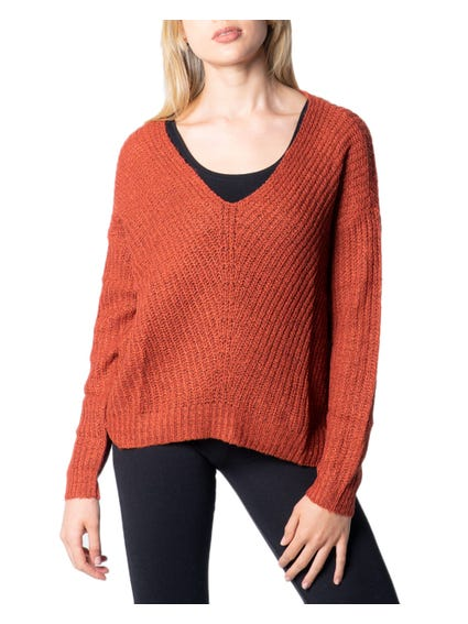 Red V Neck Long Sleeve Knitwear