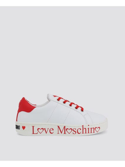 White Stitched Low Top Sneakers