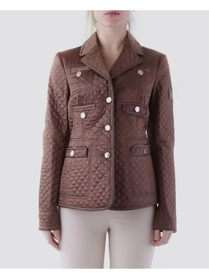 Brown Allover Pocket Cross Stitch Design Blazer Jacket