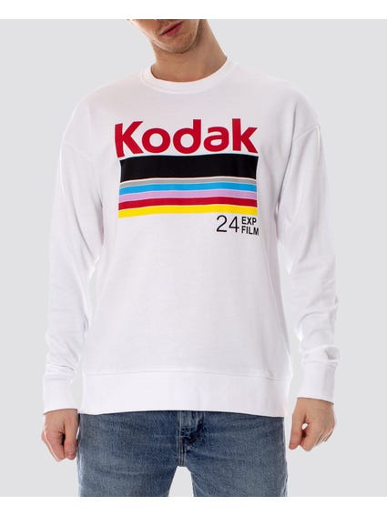 White Snap Crew Neck Sweatshirt