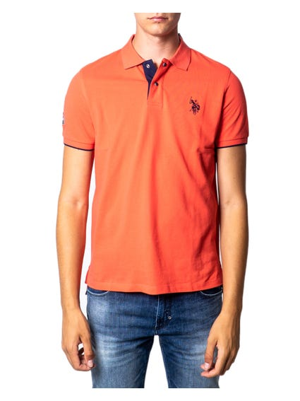 Red Collar Logo Button Polo Shirt