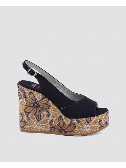 Navy Goldy Embroidered Cork Heel Wedge Sandals