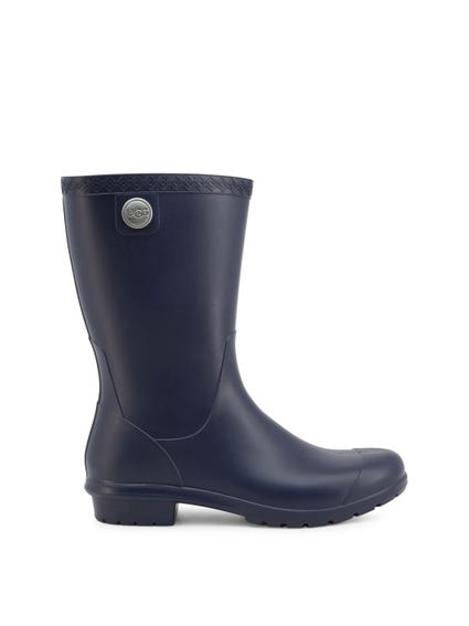 Blue Rubber Slip On Boots