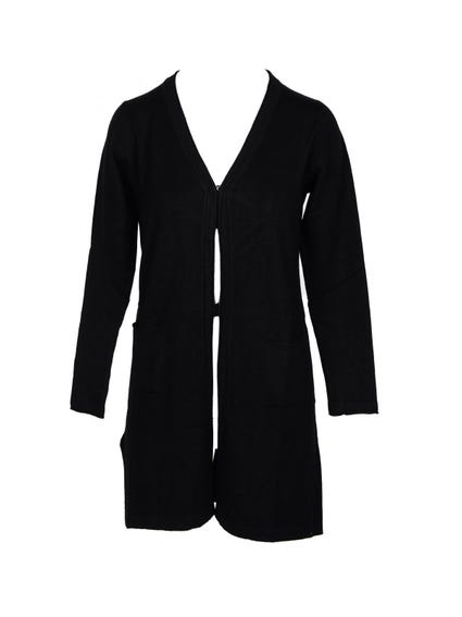 Black Open Front Pocket Cardigan