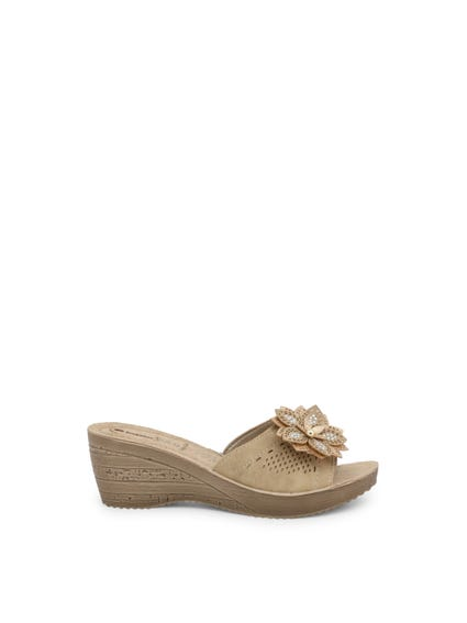 Brown Open Toe Floral Strap Wedge Sandals