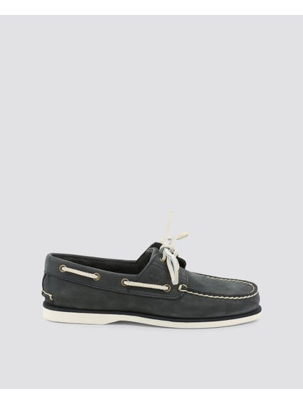 Grey Classic Boat Moccasins