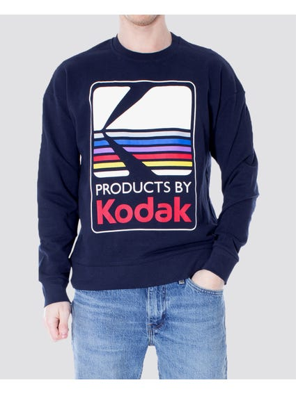 Blue Snap Crew Neck Sweatshirt