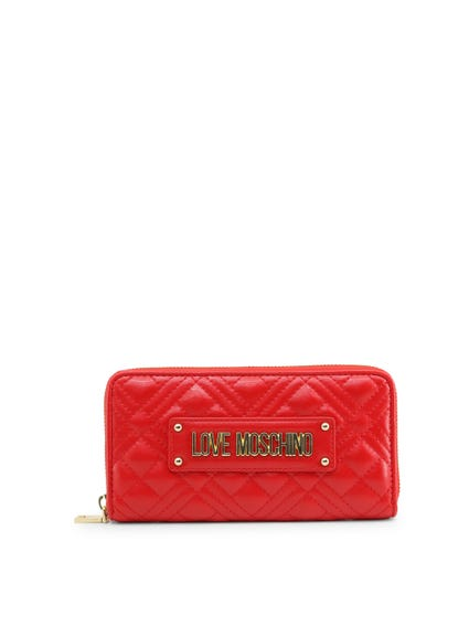 Red Quilted Full Zip Wallet