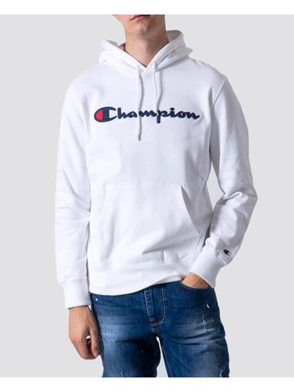 White Embroidered Detail Hoodie