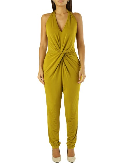 Green Sleeveless Pocket Jumpsuits