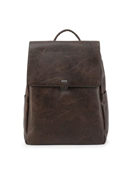 Brown Tuscany Zipper Flap Backpack