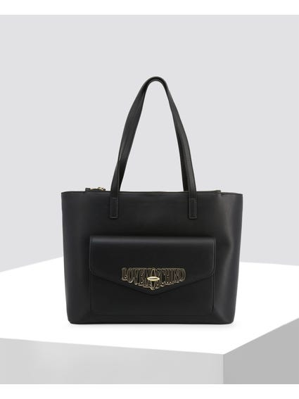 Black Front Pocket Shopper Bag