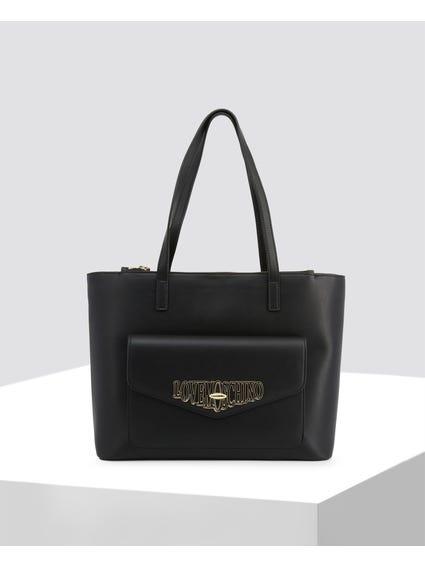 Black Front Pocket Shopper Bag