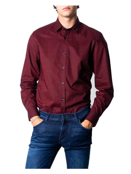 Red Collar Long Sleeve Pattern Shirt