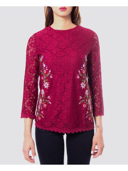 Crew Neck Lace Floral Blouse