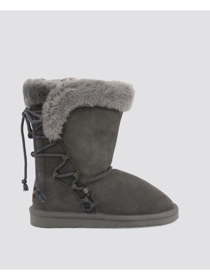 Side Zipper Fur Suede Boots