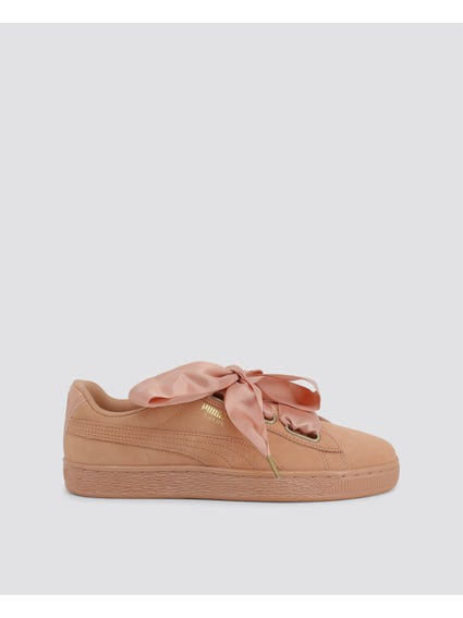 Pink Suede Heart Sneakers