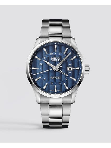 Silver Multifort Dual Time Watch