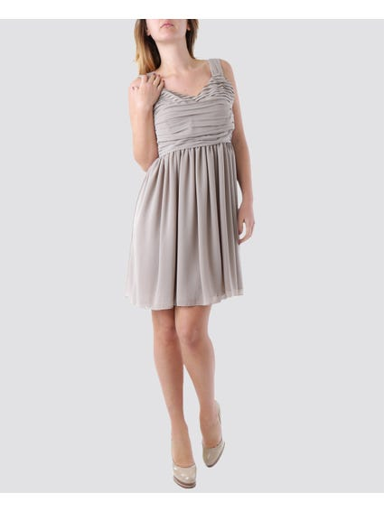 Grey Sleeveless Pleated Dress