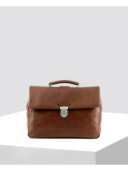 Brown Single Grab Leather Laptop Bag