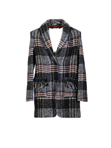 Checkered Collar Button Coat