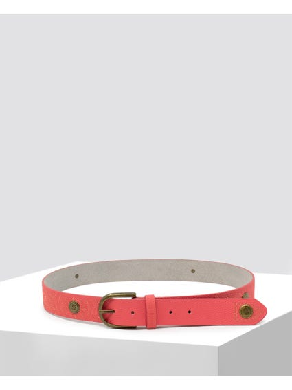 Coral Textured Leather Belt