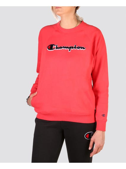 Red Logo Ribbed Sweatshirt