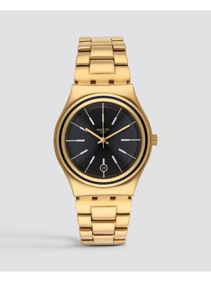 Irony Last Run Black Dial Gold-Plated Watch