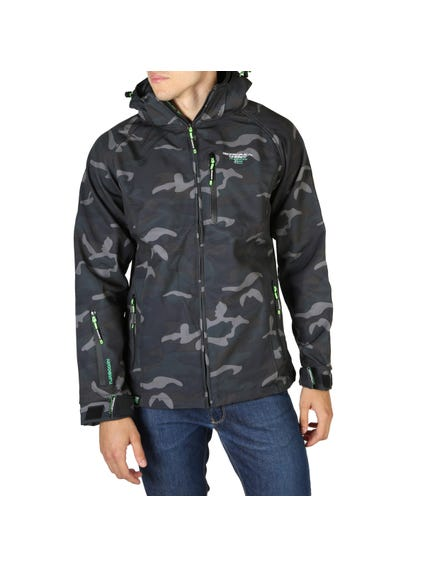 Black and Blue Camouflage Removable Hood Jacket