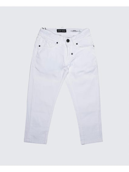 White Button Zip Kids Trousers