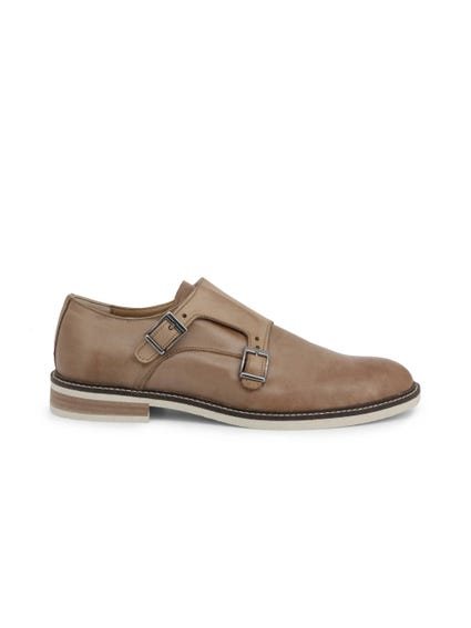 Brown Leather Buckle Pin Monk Shoes