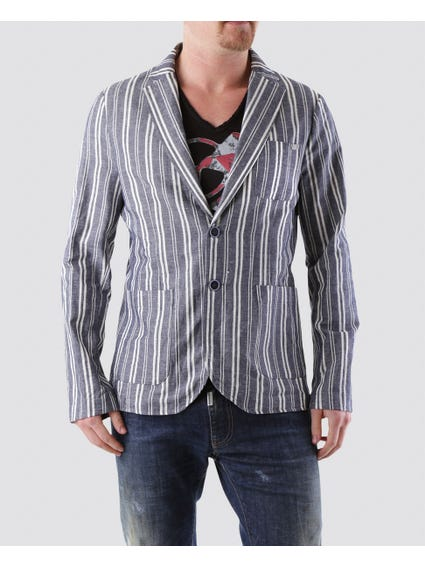 Blue striped Dual Button Blazer