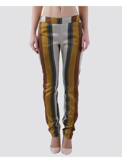 Gold Wide Stripes Full Length Pants