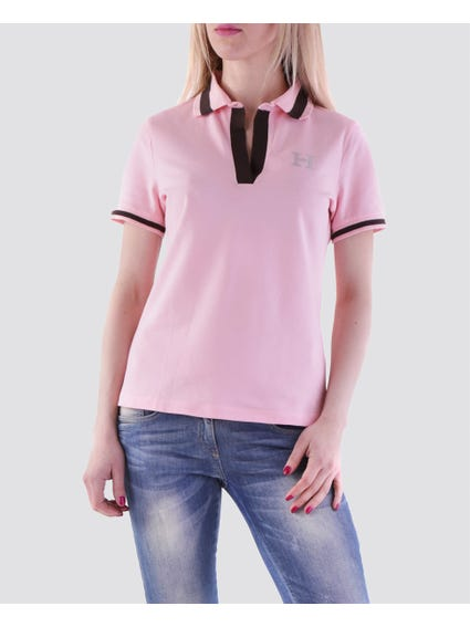 Pink Turtle Neck Silver Logo Polo Shirt