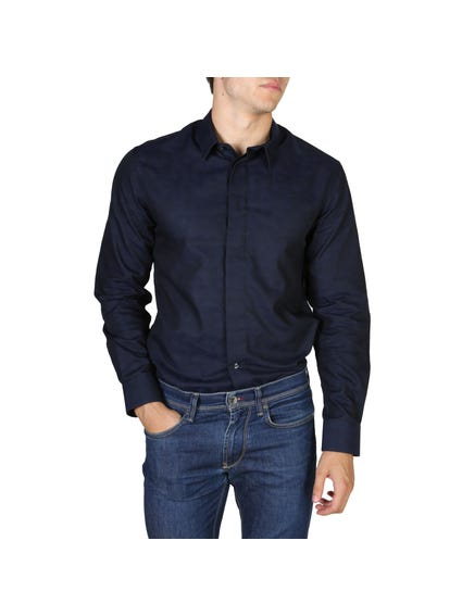 Dark Blue Concealed Buttons Long Sleeves Shirt